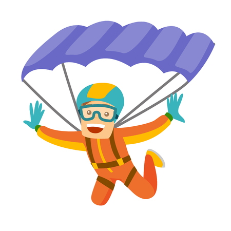 Caucasian white man flying with a parachute. Young happy man paragliding on a parachute. Professional parachutist performing sky dive jump. Vector cartoon illustration isolated on white background.