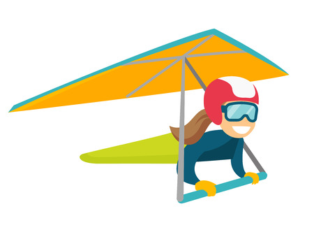 Caucasian white woman flying on hang-glider. Sportswoman taking part in hang gliding competitions. Woman having fun while gliding on delta plane in sky. Vector cartoon illustration. Horizontal layout.