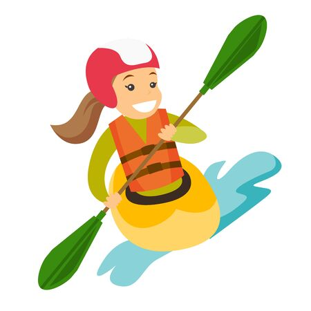 Caucasian white sportswoman in helmet and life jacket riding a kayak on river. Woman rowing with a paddle while traveling by boat. Woman paddling a canoe. Vector cartoon illustration. Square layout. Ilustração