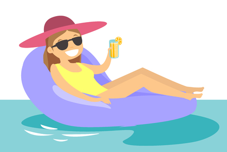 Young happy caucasian white woman in sunglasses relaxing in swimming pool. Cheerful woman in glasses sitting on rubber inflatable chaise longue on water. Vettoriali