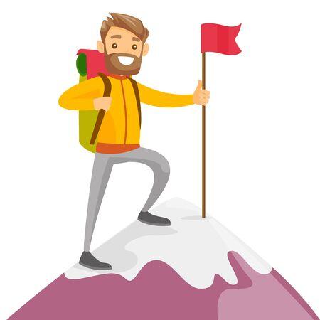 Alegre escalador blanco caucásico de pie en la cima de la montaña con una bandera roja. Joven alpinista sonriente escalada en una roca. Ilustración de dibujos animados de vectores aislado sobre fondo blanco. Diseño cuadrado.