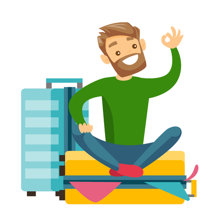 Young caucasian white man sitting on a suitcase full of clothes and trying to close it. Happy man packing a lot of clothes into a single suitcase and showing ok sign. Vector cartoon illustration.