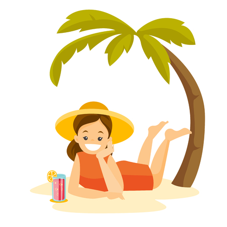 Young happy caucasian white woman in summer hat relaxing with a cocktail on the beach under the palm trees. Woman lying and sunbathing on tropical beach. Vector cartoon illustration. Square layout.