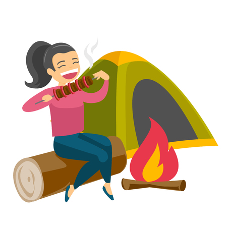 Caucasian white woman enjoying camping picnic and roasting shashlik over the campfire in nature on the background of tent. Concept of camping. Vector cartoon illustration isolated on white background.