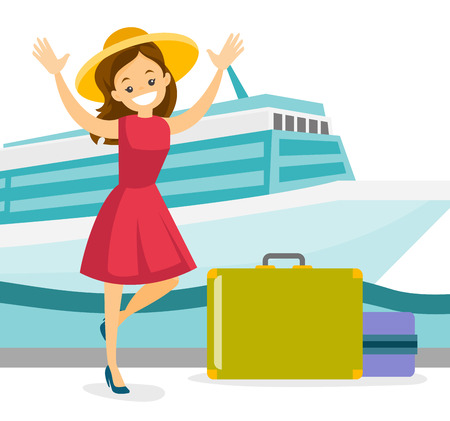 Young caucasian white tourist with a suitcase standing on the background of cruise liner. Travel and tourism, vacation and holiday concept. Vector cartoon illustration isolated on white background. Stock Illustratie