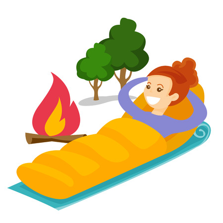 Young caucasian white woman resting in a sleeping bag during a hike. Smiling woman laying on the ground wrapped up in a mummy sleeping bag. Vector cartoon illustration isolated on white background. Illustration
