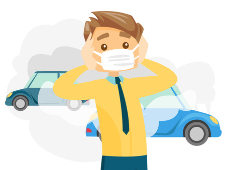 Caucasian white man wearing mask because of toxic air pollution while standing on the background of car with traffic fumes. Vector cartoon illustration isolated on white background. Horizontal layout. Vectores