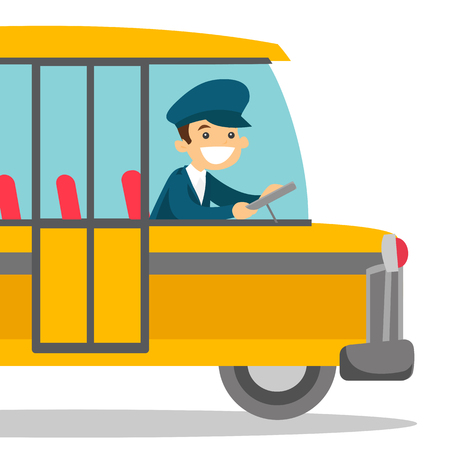 Young caucasian white bus driver sitting at steering wheel. Bus driver sitting in the driver cab and driving a passenger bus. Vector cartoon illustration isolated on white background. Square layout.