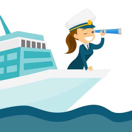 Young caucasian white female ship captain in uniform standing on the bow of the cruise ship and looking through a telescope. Vector cartoon illustration isolated on white background. Square layout.