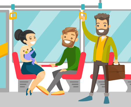Young caucasian white people traveling by public transport. Cheerful passengers sitting and standing in commuter bus. Vector cartoon illustration isolated on white background. Square layout. Vettoriali