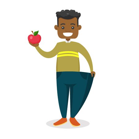 Young happy slim African-american man in over sized pants showing the results of his diet. Diet and healthy lifestyle concept. Vector cartoon illustration isolated on white background.