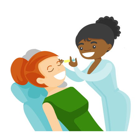 African woman getting cosmetic dermal injection in beauty salon. african-american doctor making beauty injections to a client. Vector cartoon illustration isolated on white background. Square layout.