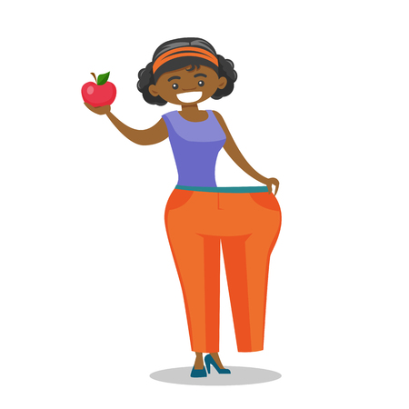 Young happy slim african-american woman in oversized pants showing the results of her diet. Diet and healthy lifestyle concept. Vector cartoon illustration isolated on white background. Square layout.