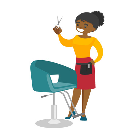Young african-american hair stylist standing next to the armchair in the beauty saloon and holding hairdressing tools in a hand. Vector cartoon illustration isolated on white background. Square layout  イラスト・ベクター素材