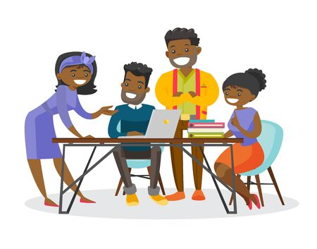 Group of young african-american business people working together on project during a meeting in office. Office life, teamwork concept. Vector cartoon illustration isolated on white background. Stockfoto - 99096880
