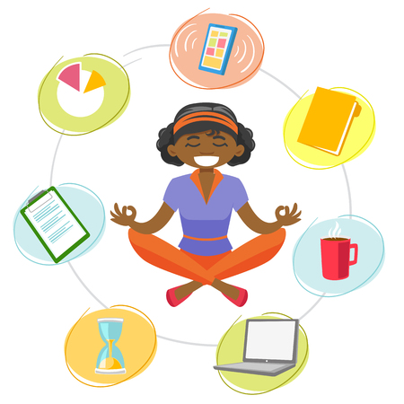 Peaceful african-american business woman meditating in yoga lotus position and trying to abstract from work affairs and find mental peace. Vector cartoon illustration isolated on white background.