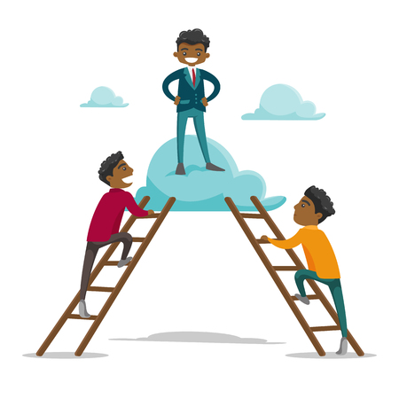 Group of young multiethnic businessmen using ladders to climb on the cloud on which one cheerful successful businessmen already stands. Vector cartoon illustration isolated on white background.