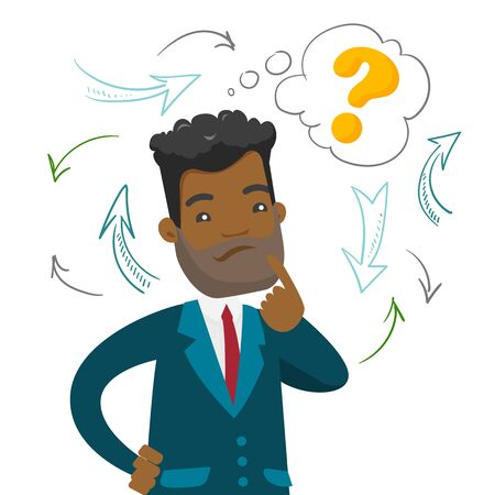 Young confused african-american businessman thinking while standing under question mark and arrows. Business thinking concept. Vector cartoon illustration isolated on white background. Square layout. Illustration