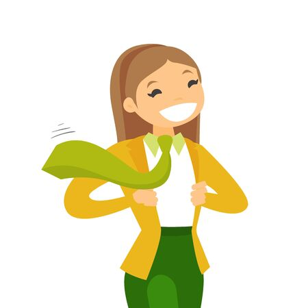 Young happy caucasian white powerful business woman opening her jacket like superhero. Concept of superhero and power. Vector cartoon illustration isolated on white background. Square layout. Ilustrace