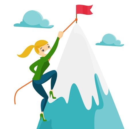 Caucasian white woman climbing on the peak of mountain with flag symbolizing business goal. Business goal, achievement and motivation concept. Vector cartoon illustration isolated on white background. Vectores