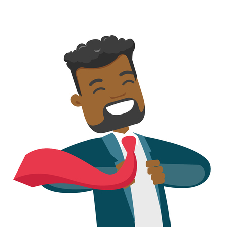 Young happy african-american powerful businessman opening his jacket like superhero. Concept of superhero and power. Vector cartoon illustration isolated on white background. Square layout.