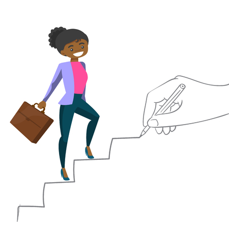 Młody biznes african-american kobieta działa po schodach rysowane ręcznie z pencile. Szczęśliwa biznesowa kobieta wspinaczka po drabinie kariery. Wektor ilustracja kreskówka na białym tle.