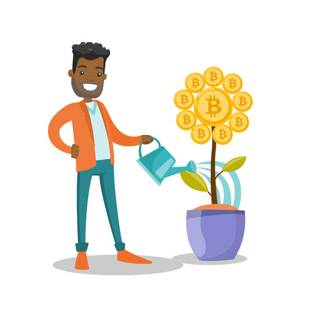 Young african-american man taking care of flower with golden bitcoin coin. Investment, blockchain network technology, ICO initial coin offering and cryptocurrency concept. Vector cartoon illustraton.