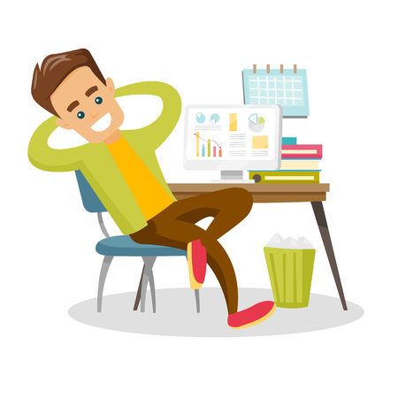Young satisfied caucasian white employee sitting at workplace with hands clasped behind his head. Relaxed employee resting in the office. Vector cartoon illustration isolated on white background.