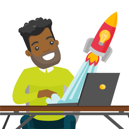 African-american businessman working on a laptop and looking at the rocket. Man working on a new business start up. Business start up concept. Vector cartoon illustration isolated on white background. Illustration