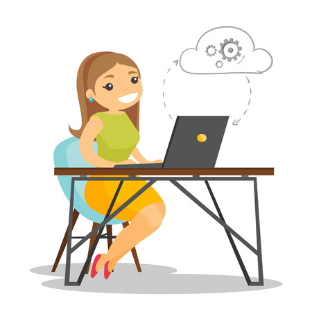 Young caucasian white business woman working on a laptop under the cloud. Woman using cloud computing technologies. Cloud computing concept. Vector cartoon illustration isolated on white background.