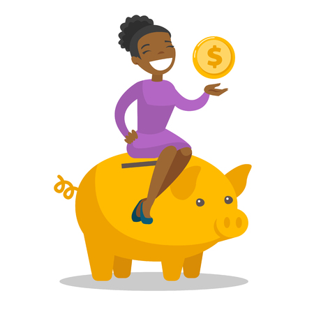 Young african-american business woman sitting on the top of big piggy bank and holding golden dollar coin in hand. Concept of saving money. Vector cartoon illustration isolated on white background.