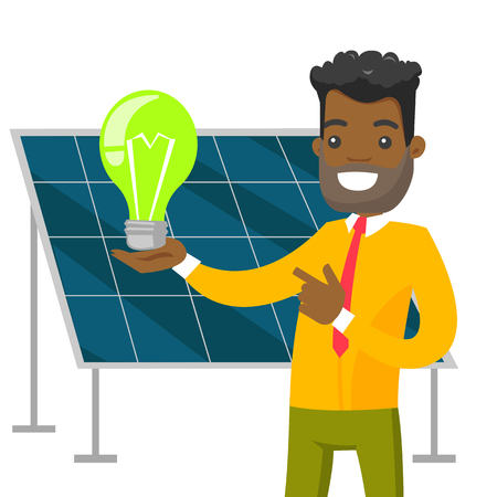 African-american engineer of solar power plant holding lightbulb on the background of solar panel. Renewable energy concept. Vector cartoon illustration isolated on white background. Square layout.