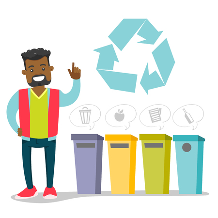 African-american man standing next to the four garbage bins for paper, glass, mixed and food waste. Concept of garbage separation, environmental protection and recycling. Vector cartoon illustration. Stock Illustratie