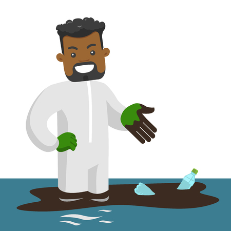 Young confused african-american male scientist standing in water with oil spill and plastic bottles. Water, plastic and oil pollution concept. Vector cartoon illustration isolated on white background.  イラスト・ベクター素材