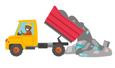 Young African Man Driving A Garbage Truck And Unloading Waste