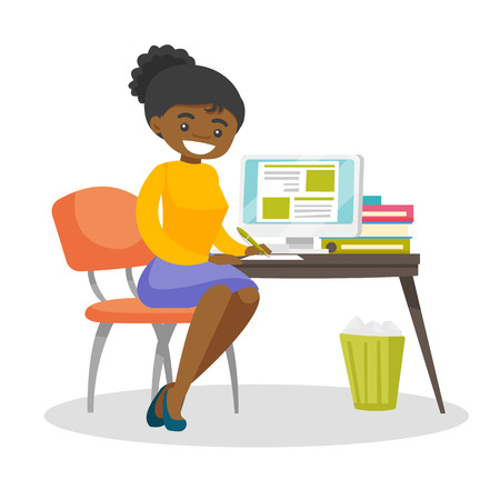 African-american student sitting at the table with a computer and writing an essay. Student using a computer for education. Educational technology concept. Vector cartoon illustration. Square layout.