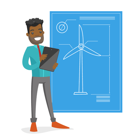 African-american engineer projecting a wind turbine project on a tablet. Renewable energy and environmental protection concept. Vector cartoon illustration isolated on white background. Square layout.