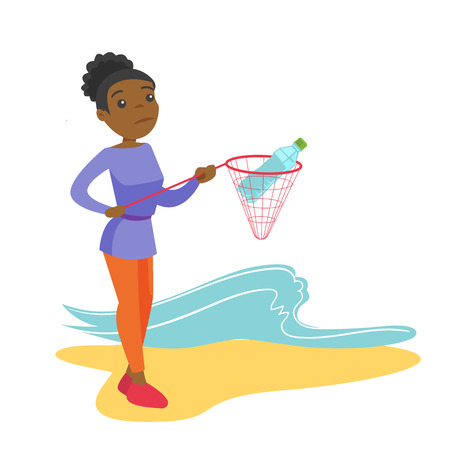 Young african-american woman catching plastic bottle from polluted sea or ocean. Woman collecting trash from water. Water and plastic pollution concept. Vector cartoon illustration. Square layout.