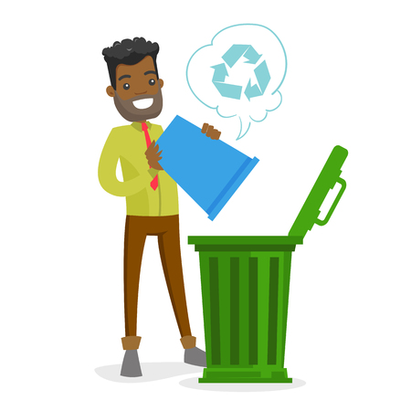 Young african-american man throwing out garbage from recycling bin into a trash can. Waste recycling concept. Vector cartoon illustration isolated on white background. Square layout.