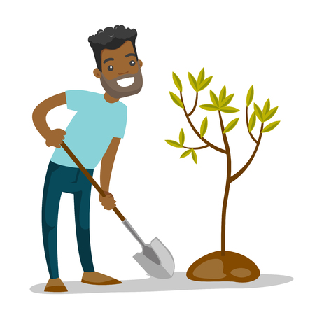 African-american gardener plants a tree with a shovel. Man standing near newly planted tree. Environmental protection and gardening concept. Vector cartoon illustration isolated on white background. Illustration