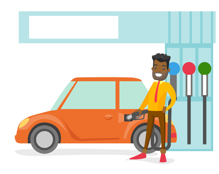 Young african-american businessman in suit filling up fuel into the car at the gas station. Cheerful man refueling a car. Vector cartoon illustration isolated on white background. Stock Illustratie