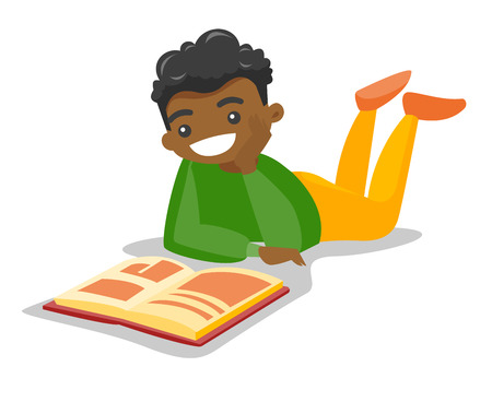 Young african-american college student lying on the floor and reading a book. Male student preparing for exam with book. Concept of education. Vector cartoon illustration isolated on white background.