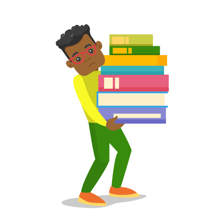 Young african-american tired college student carrying a heavy pile of books. University student walking with stack of books. Vector cartoon illustration isolated on white background. Square layout. Illustration