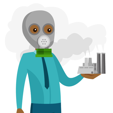 Young african-american man in gas mask holding nuclear power plant with smoking towers in hand. Contamination of the environment concept. Vector cartoon illustration isolated on white background.