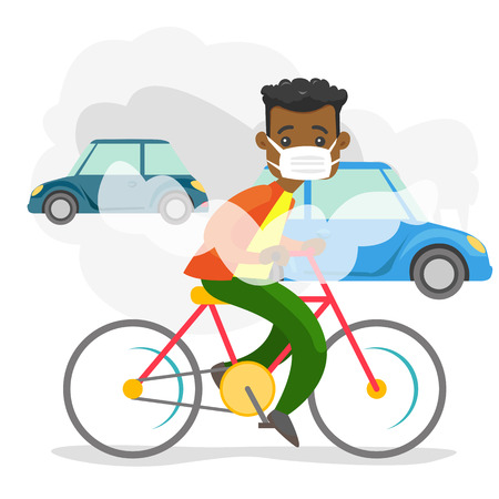 African-american man in gas mask riding a bicycle on the background of car with co2 emissions. Toxic air pollution concept. Vector cartoon illustration isolated on white background. Square layout. 矢量图像
