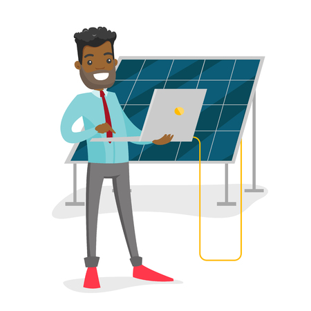 African-american engineer of solar power plant working on a laptop on the background of solar panel. Renewable energy concept. Vector cartoon illustration isolated on white background. Square layout.