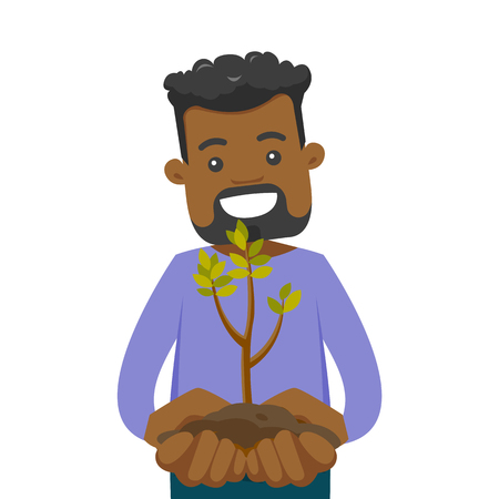 Young african-american man holding green small plant with soil in hands. Ecology and green energy concept. Vector cartoon illustration isolated on white background. Square layout.