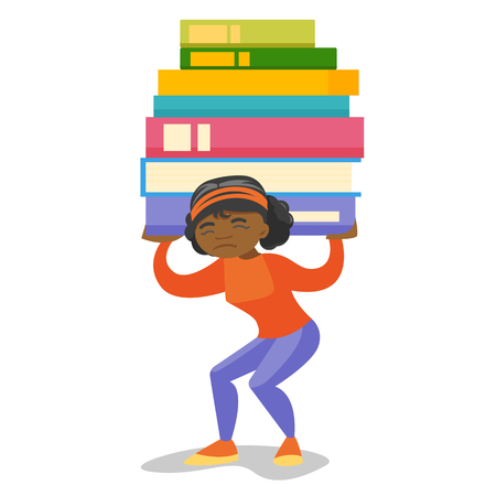 Young african-american tired college student carrying a heavy pile of books on back. Female university student walking with stack of books. Vector cartoon illustration isolated on white background. Vectores