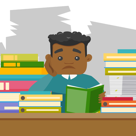 African-american bored university student studying hard before the exams in the library. Sad teacher feeling stress from the checking of test of student. Vector cartoon illustration. Square layout.