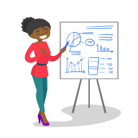 Young african-american teacher pointing at the board with a pencil. Teacher standing next to the blackboard with charts in the classroom. Vector cartoon illustration isolated on white background. Vectores